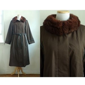 Vintage Diane Von Furstenberg Trench Coat with Fur